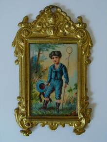 Erhard & S�hne, antikes Puppenstubenbild, Goldblech gepr�gt. Antique doll accessory, dollhouse miniature for a doll house, gilt tin, Erhard & S�hne c1900.