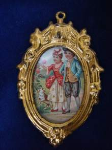 Antikes Puppenstubenbild von Erhard & S�hne um 1900. Antique doll accessory, dollhouse miniature for a doll house, gilt tin, Erhard & S�hne c1900.