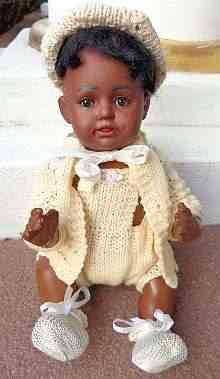 Antique bisque head doll, adorable &rare brown bisque head baby, very probably made by Kestner about 1910.