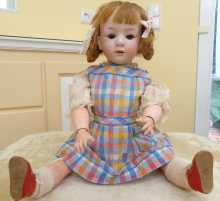 Antique German Heubach character doll, rare mold number 10532, dated about 1912.